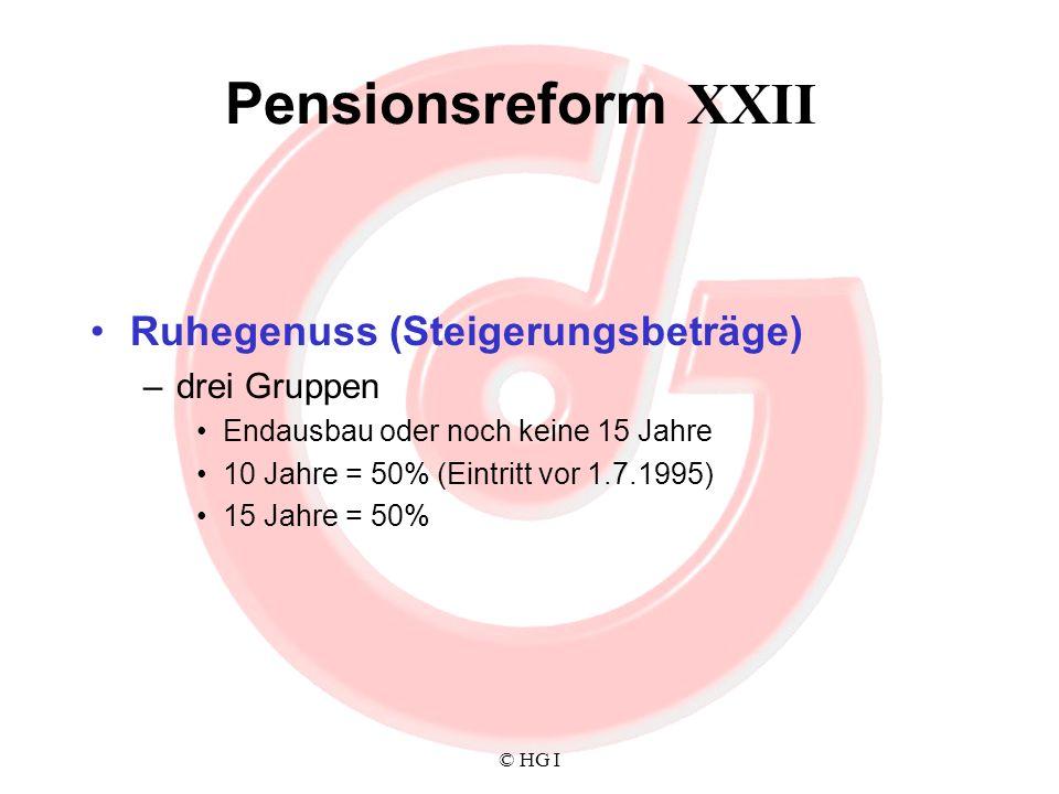 Pensionsreform XXII Ruhegenuss (Steigerungsbeträge) drei Gruppen