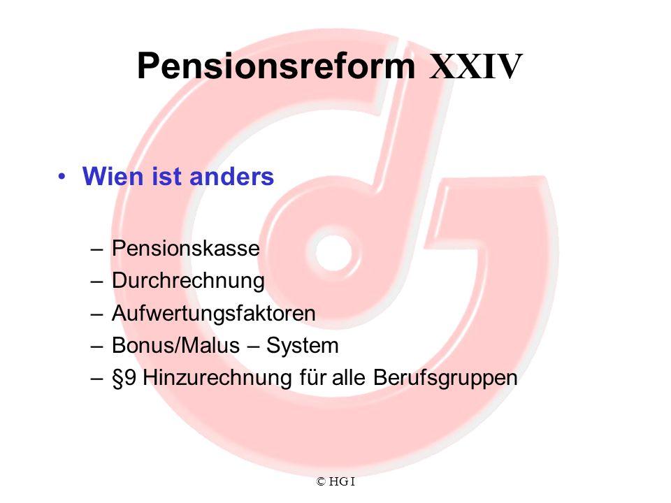 Pensionsreform XXIV Wien ist anders Pensionskasse Durchrechnung