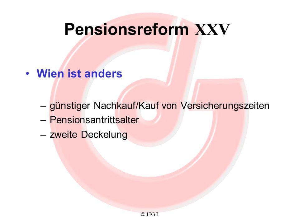 Pensionsreform XXV Wien ist anders