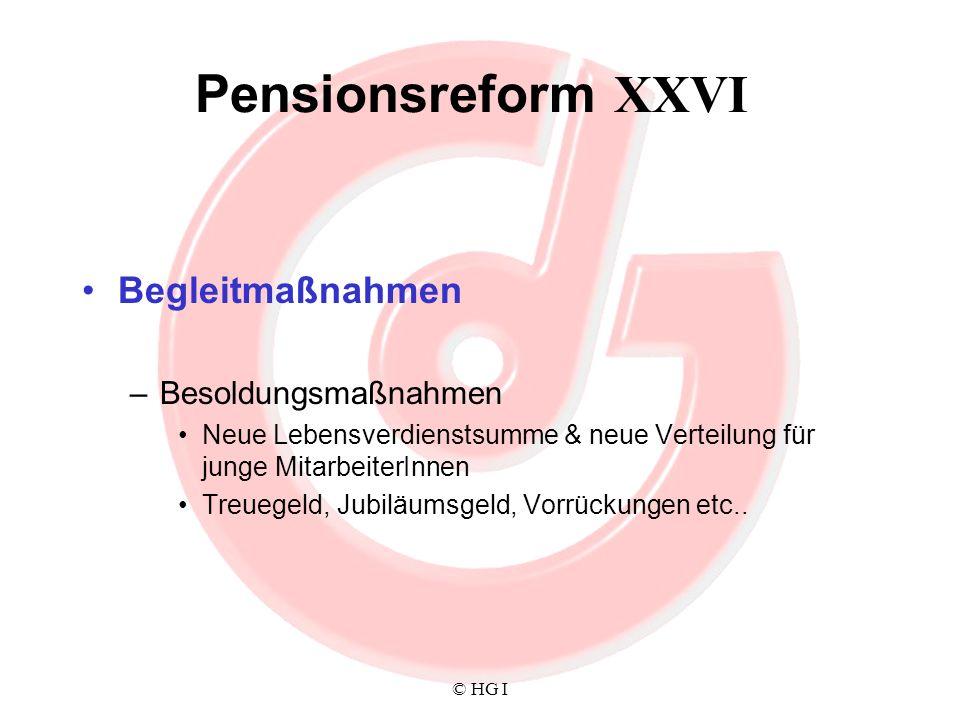 Pensionsreform XXVI Begleitmaßnahmen Besoldungsmaßnahmen