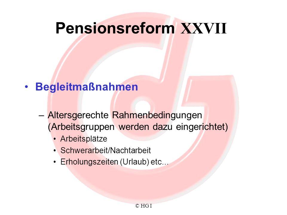 Pensionsreform XXVII Begleitmaßnahmen