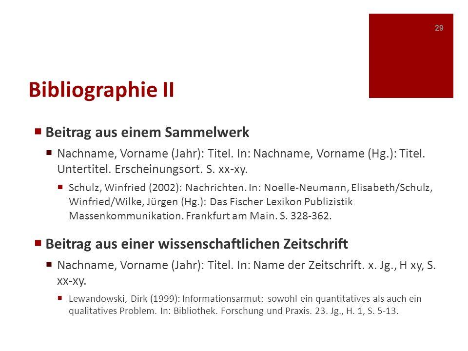 Bibliographie II Beitrag aus einem Sammelwerk