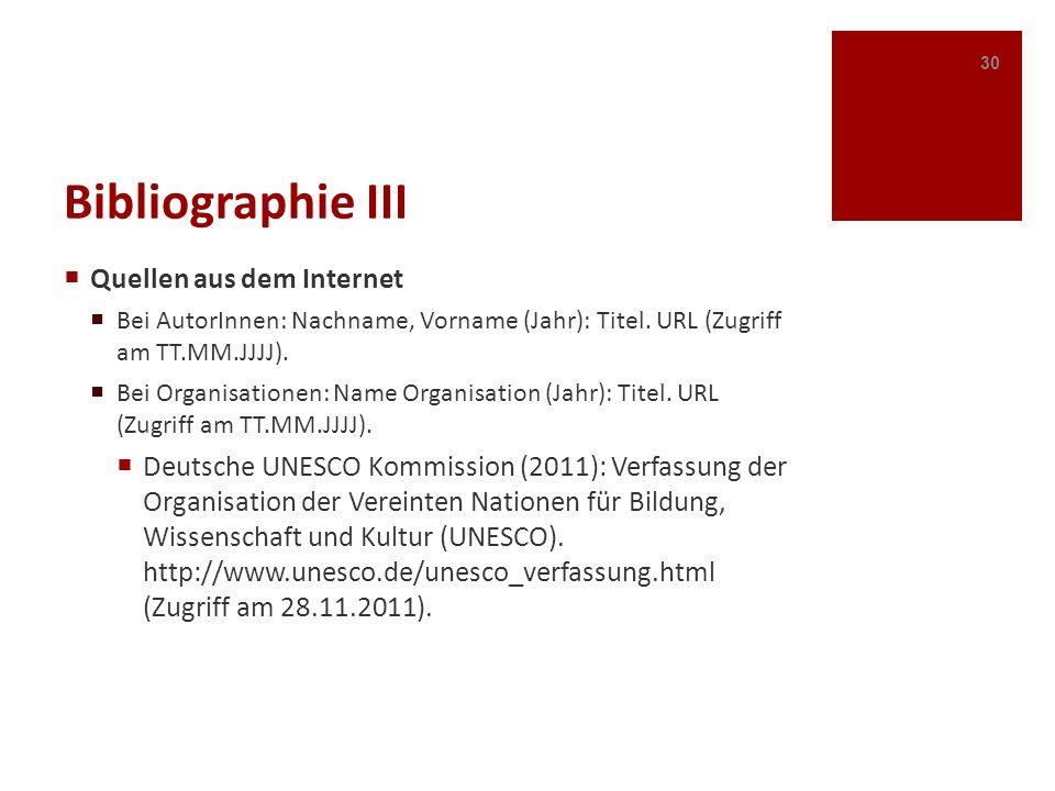 Bibliographie III Quellen aus dem Internet