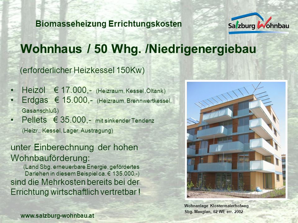 Biomasseheizung Errichtungskosten