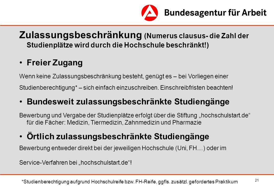 Zulassungsbeschränkung (Numerus clausus- die Zahl der Studienplätze wird durch die Hochschule beschränkt!)