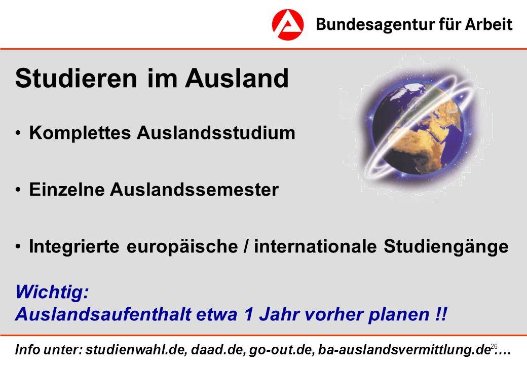 Studieren im Ausland Komplettes Auslandsstudium