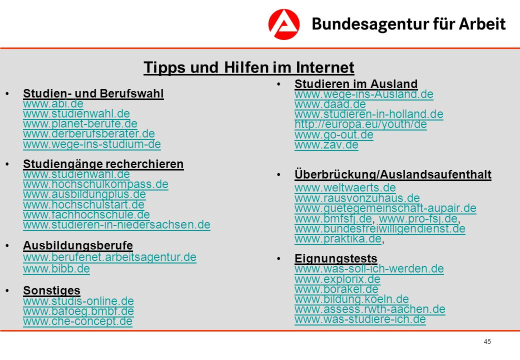 Tipps und Hilfen im Internet