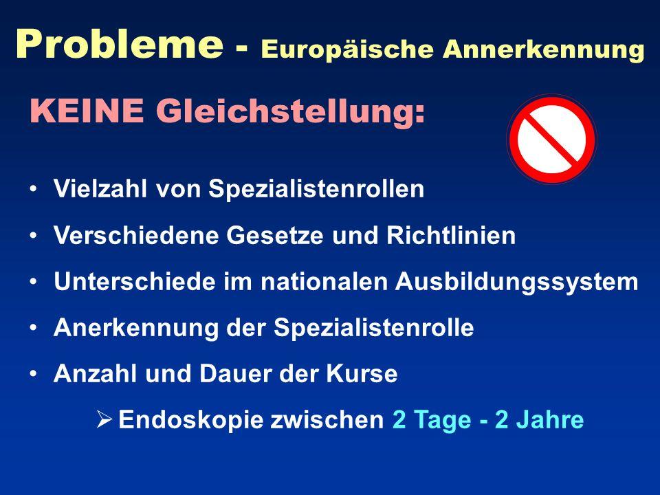 Probleme - Europäische Annerkennung