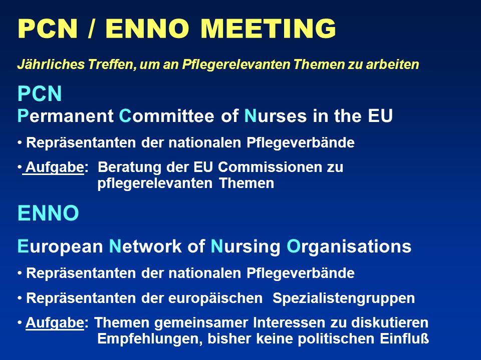 PCN / ENNO MEETING PCN Permanent Committee of Nurses in the EU ENNO