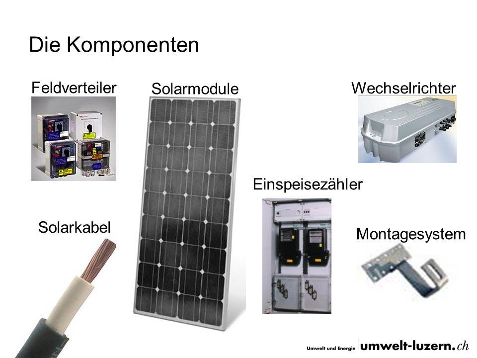 Die Komponenten Feldverteiler Solarmodule Wechselrichter