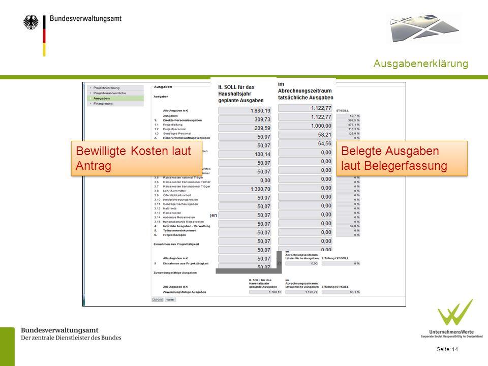 Bewilligte Kosten laut Antrag Belegte Ausgaben laut Belegerfassung