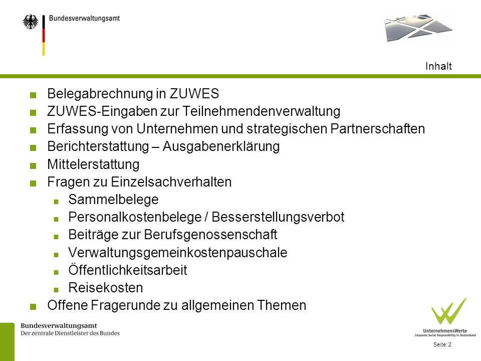 Belegabrechnung in ZUWES ZUWES-Eingaben zur Teilnehmendenverwaltung