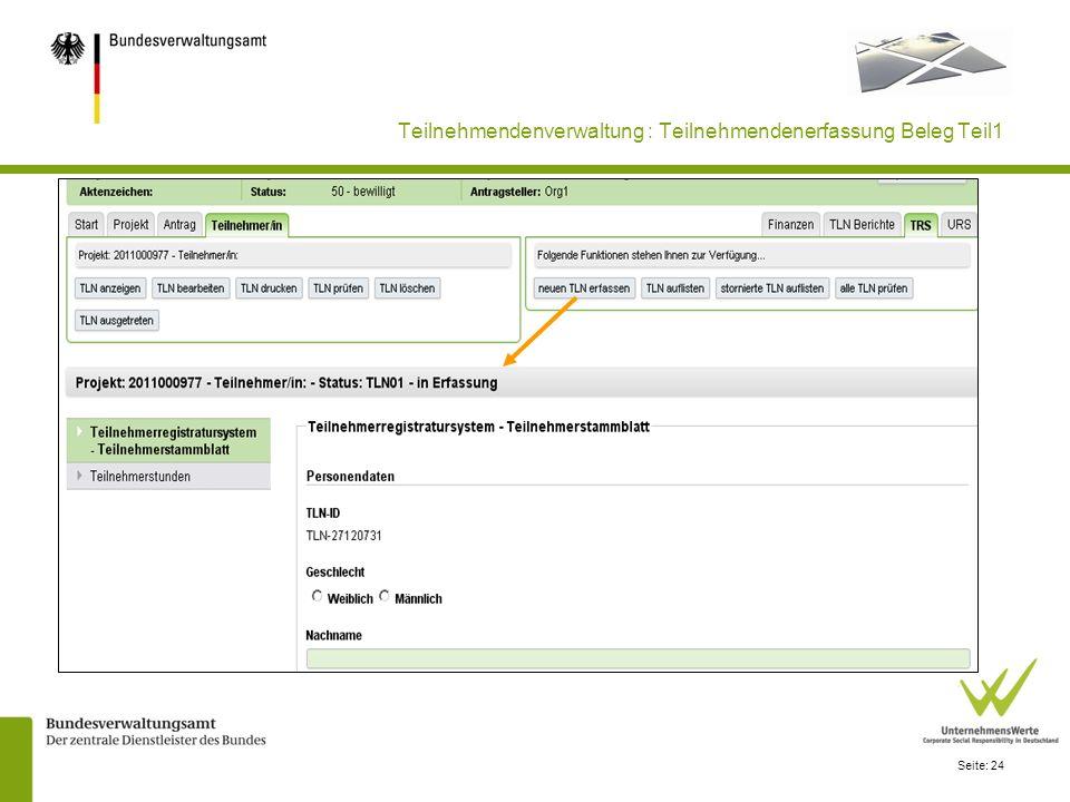 Teilnehmendenverwaltung : Teilnehmendenerfassung Beleg Teil1