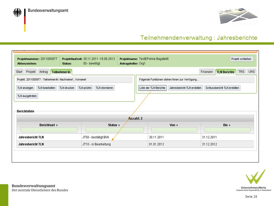 Teilnehmendenverwaltung : Jahresberichte
