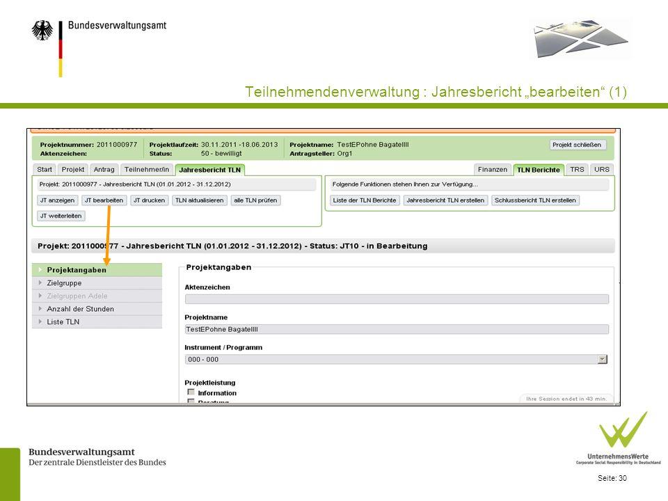 """Teilnehmendenverwaltung : Jahresbericht """"bearbeiten (1)"""