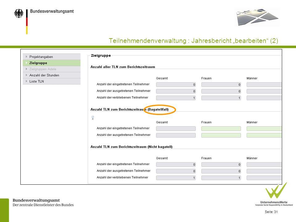 """Teilnehmendenverwaltung : Jahresbericht """"bearbeiten (2)"""