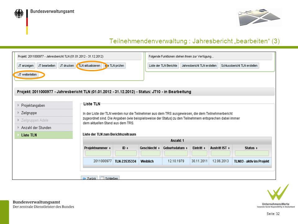 """Teilnehmendenverwaltung : Jahresbericht """"bearbeiten (3)"""
