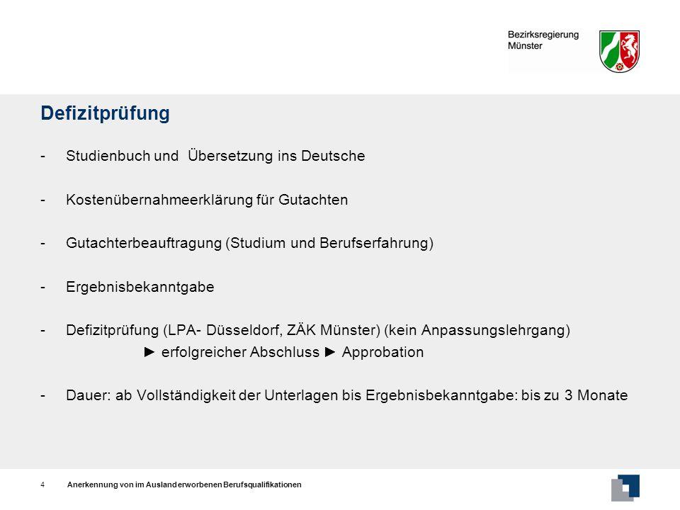 Defizitprüfung - Studienbuch und Übersetzung ins Deutsche