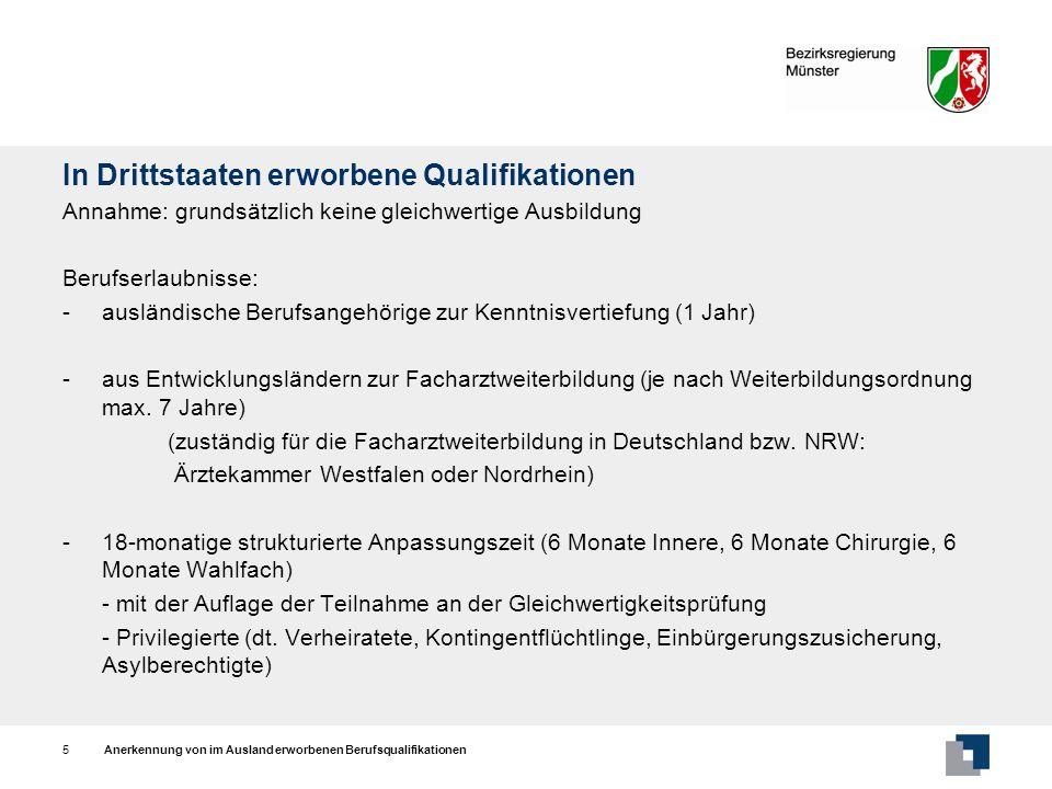 In Drittstaaten erworbene Qualifikationen