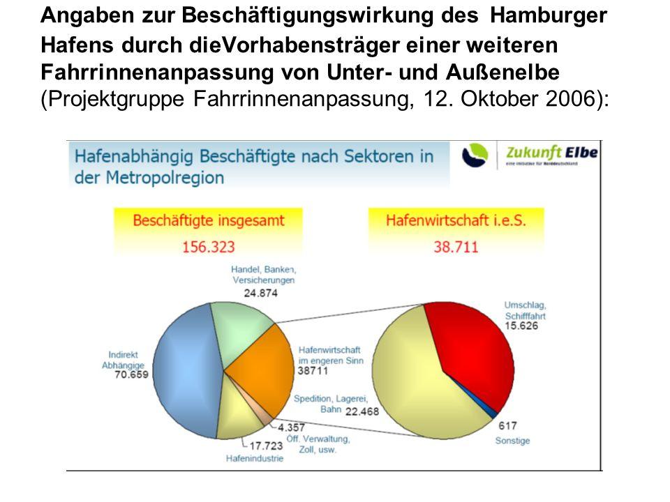 Angaben zur Beschäftigungswirkung des Hamburger Hafens durch dieVorhabensträger einer weiteren Fahrrinnenanpassung von Unter- und Außenelbe (Projektgruppe Fahrrinnenanpassung, 12.