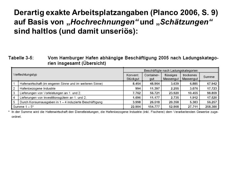 Derartig exakte Arbeitsplatzangaben (Planco 2006, S