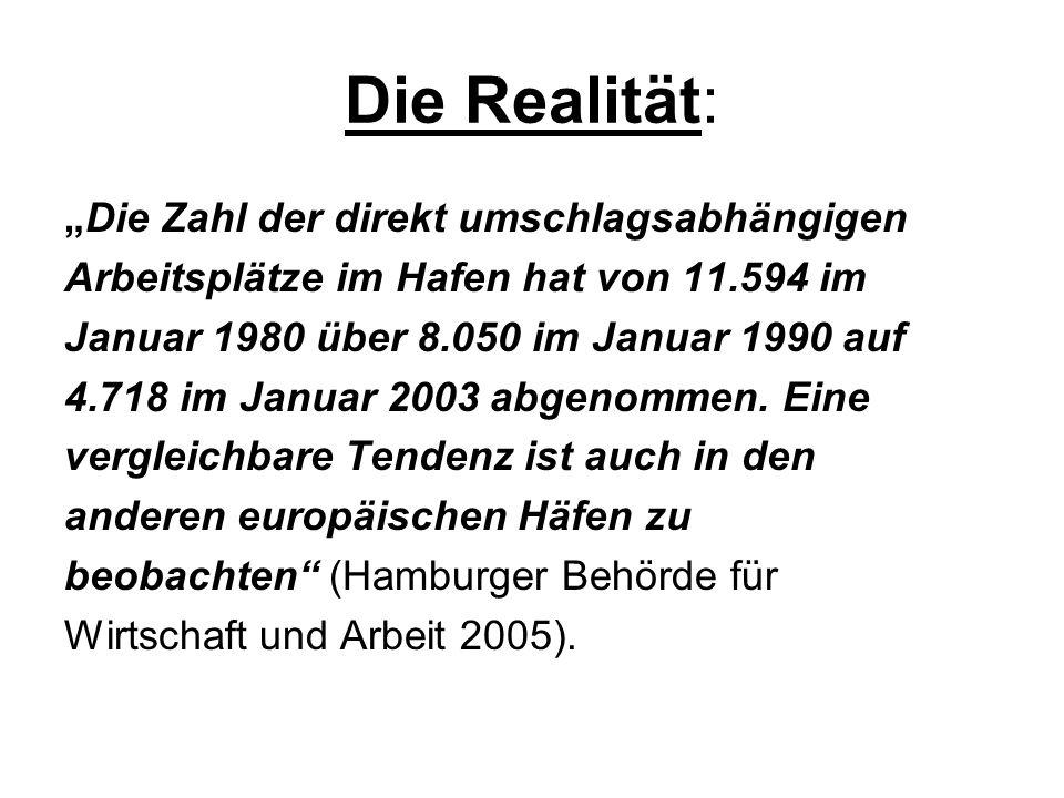 """Die Realität: """"Die Zahl der direkt umschlagsabhängigen"""