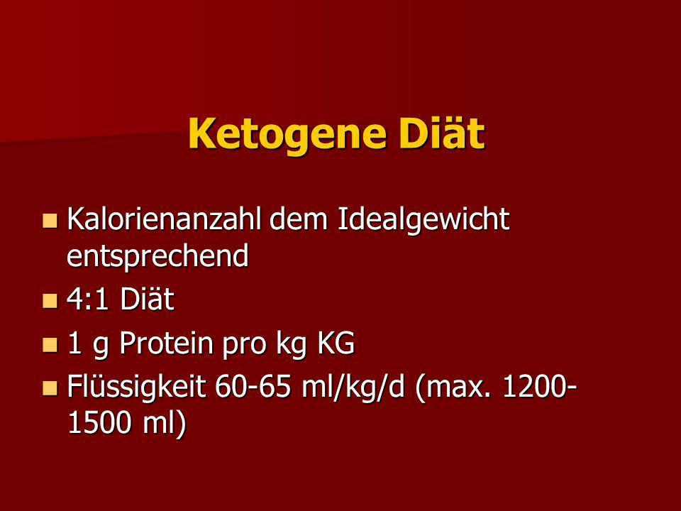 Ketogene Diät Kalorienanzahl dem Idealgewicht entsprechend 4:1 Diät