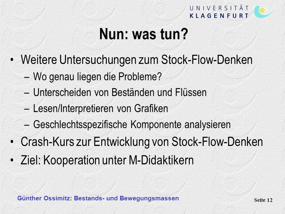 Nun: was tun Weitere Untersuchungen zum Stock-Flow-Denken