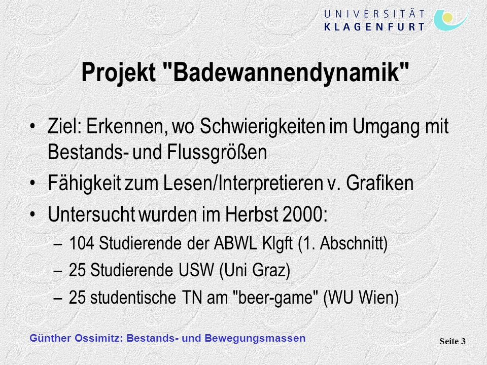 Projekt Badewannendynamik