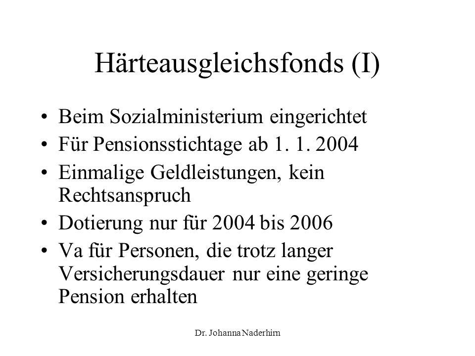 Härteausgleichsfonds (I)