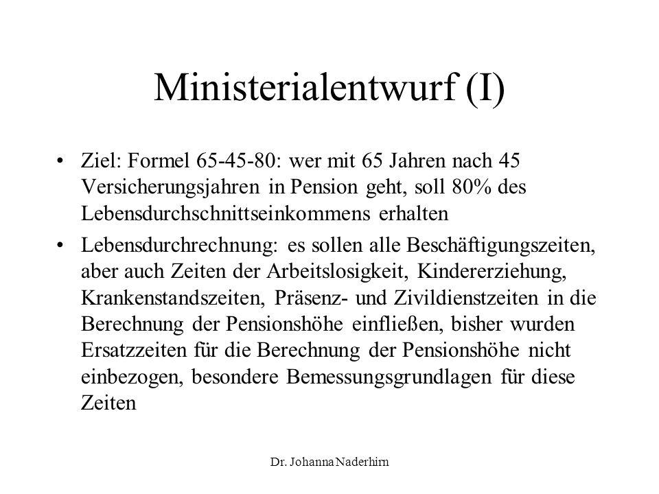 Ministerialentwurf (I)