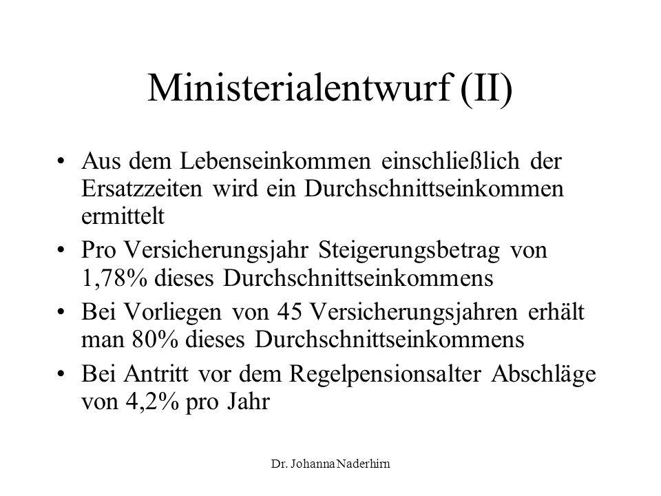 Ministerialentwurf (II)