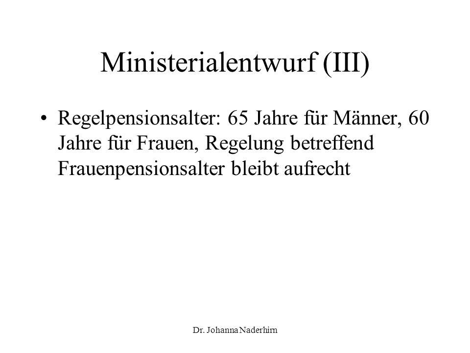 Ministerialentwurf (III)