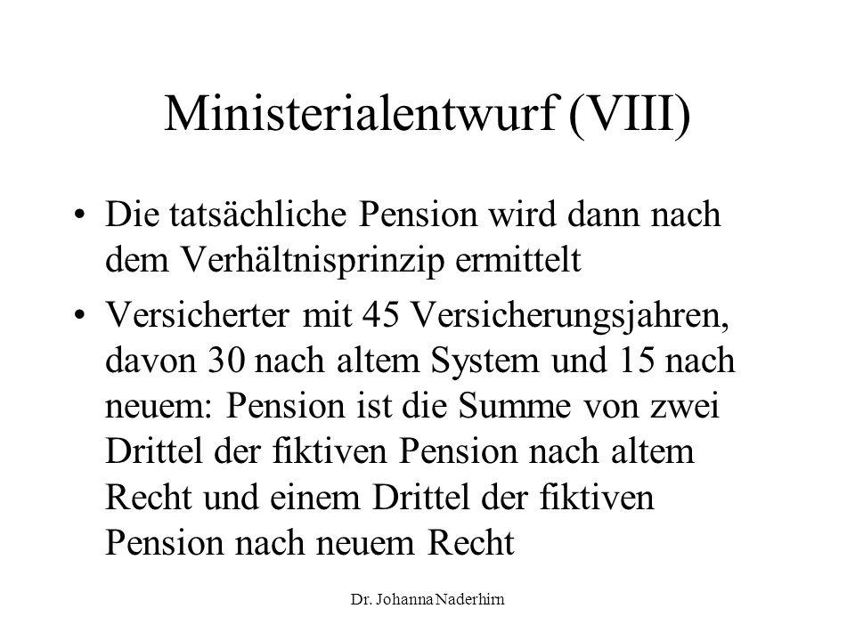 Ministerialentwurf (VIII)