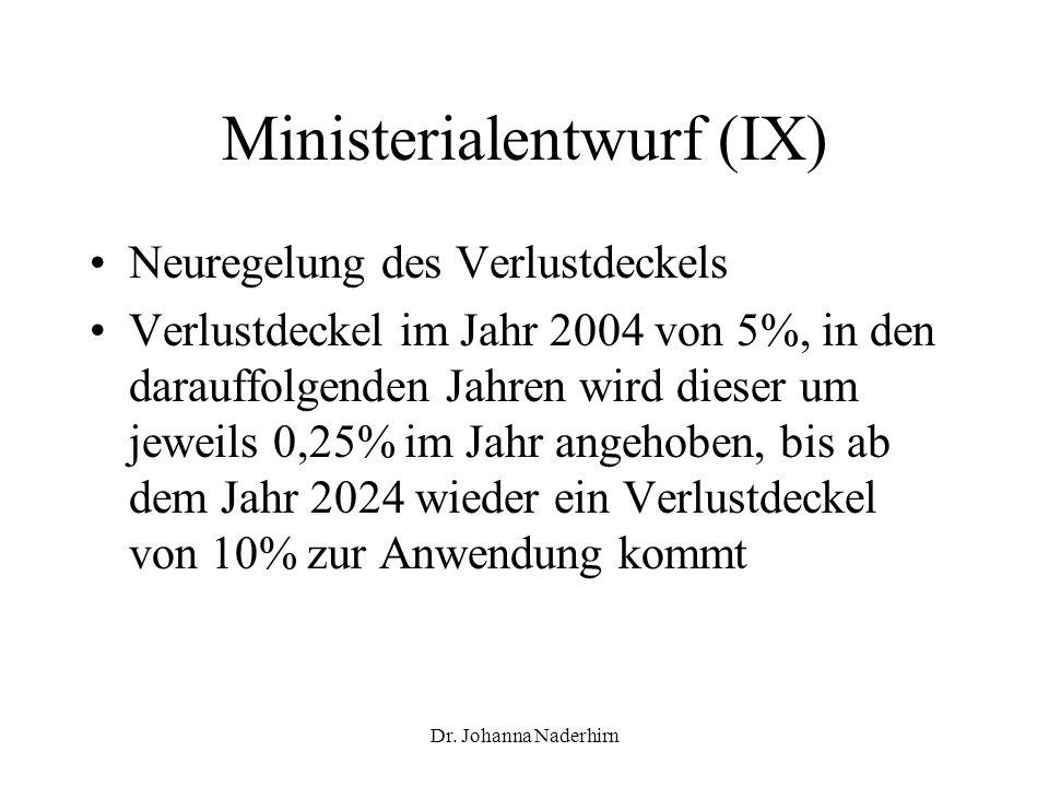 Ministerialentwurf (IX)