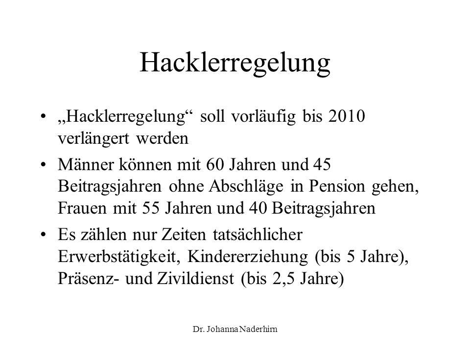 "Hacklerregelung ""Hacklerregelung soll vorläufig bis 2010 verlängert werden."