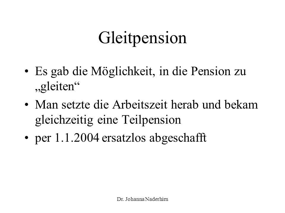 """Gleitpension Es gab die Möglichkeit, in die Pension zu """"gleiten"""