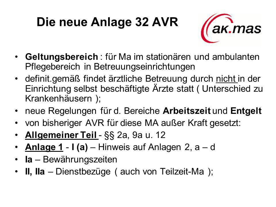 Die neue Anlage 32 AVR Geltungsbereich : für Ma im stationären und ambulanten Pflegebereich in Betreuungseinrichtungen.