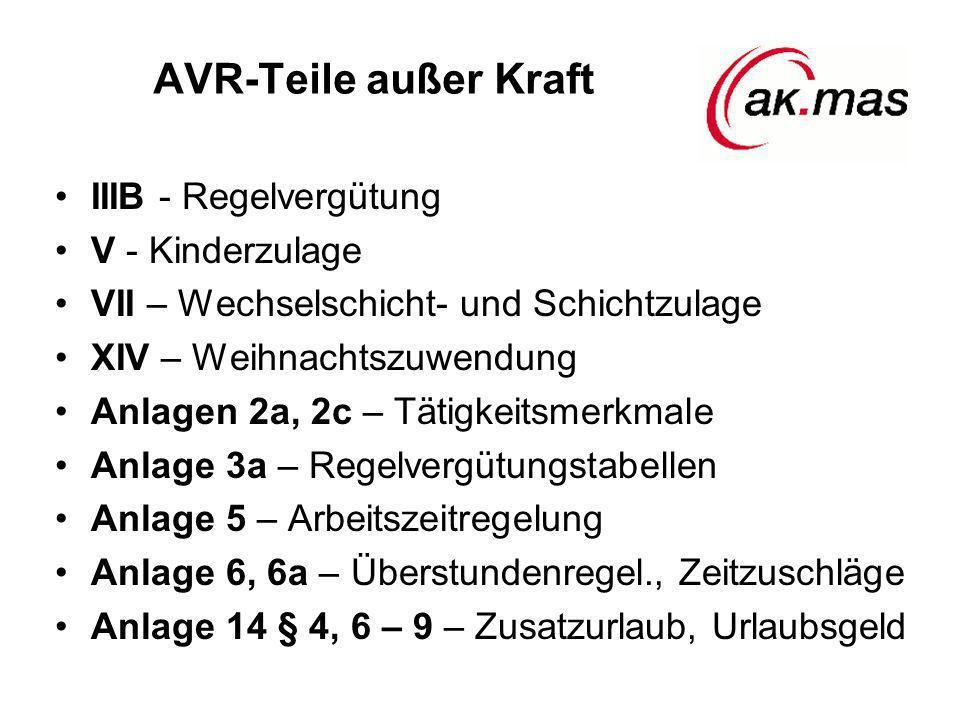 AVR-Teile außer Kraft IIIB - Regelvergütung V - Kinderzulage