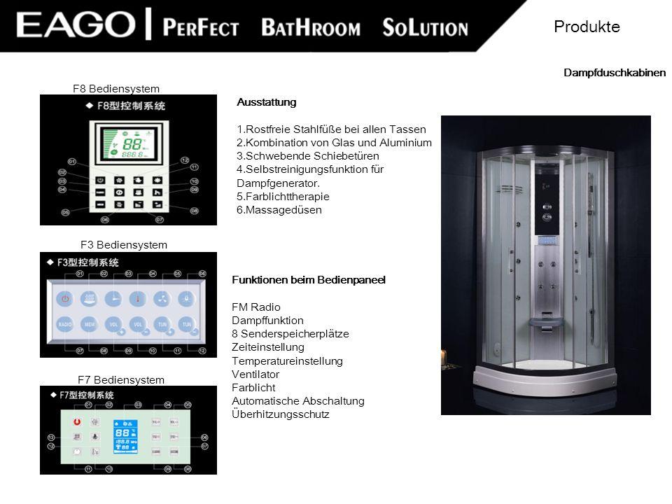 Produkte Dampfduschkabinen F8 Bediensystem Ausstattung