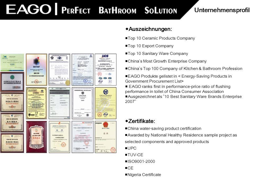Unternehmensprofil ◆Auszeichnungen: ◆Zertifikate: