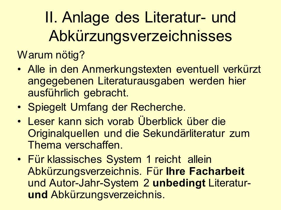 II. Anlage des Literatur- und Abkürzungsverzeichnisses