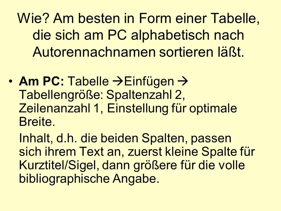 Wie Am besten in Form einer Tabelle, die sich am PC alphabetisch nach Autorennachnamen sortieren läßt.