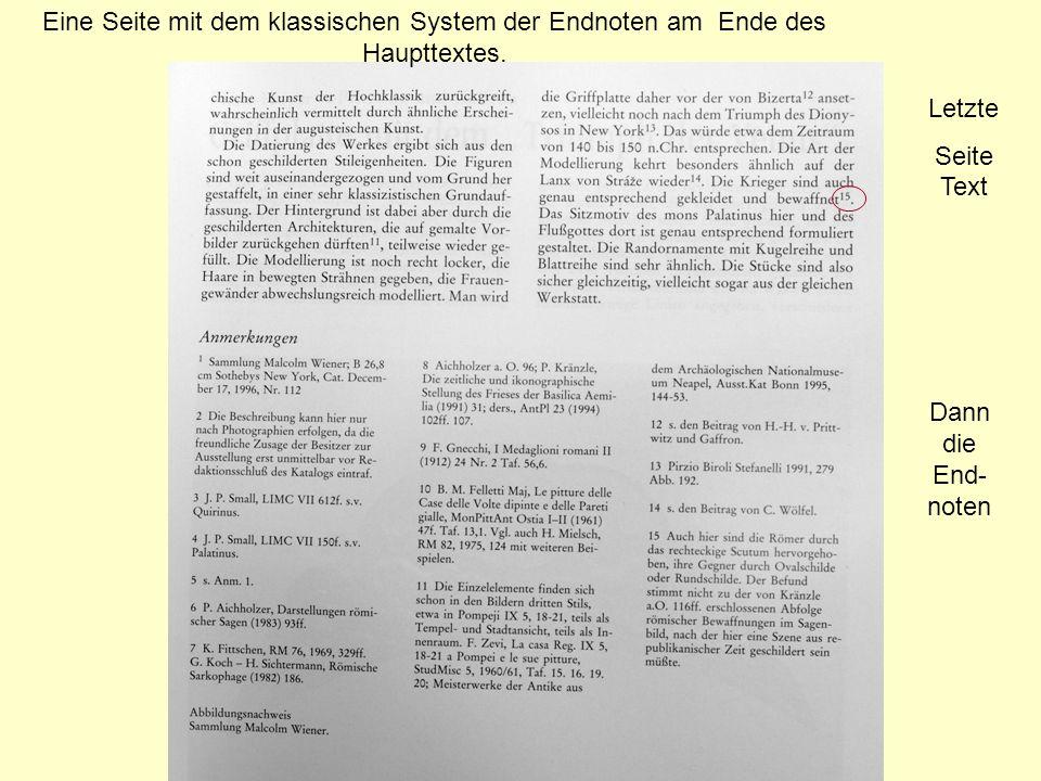 Eine Seite mit dem klassischen System der Endnoten am Ende des Haupttextes.