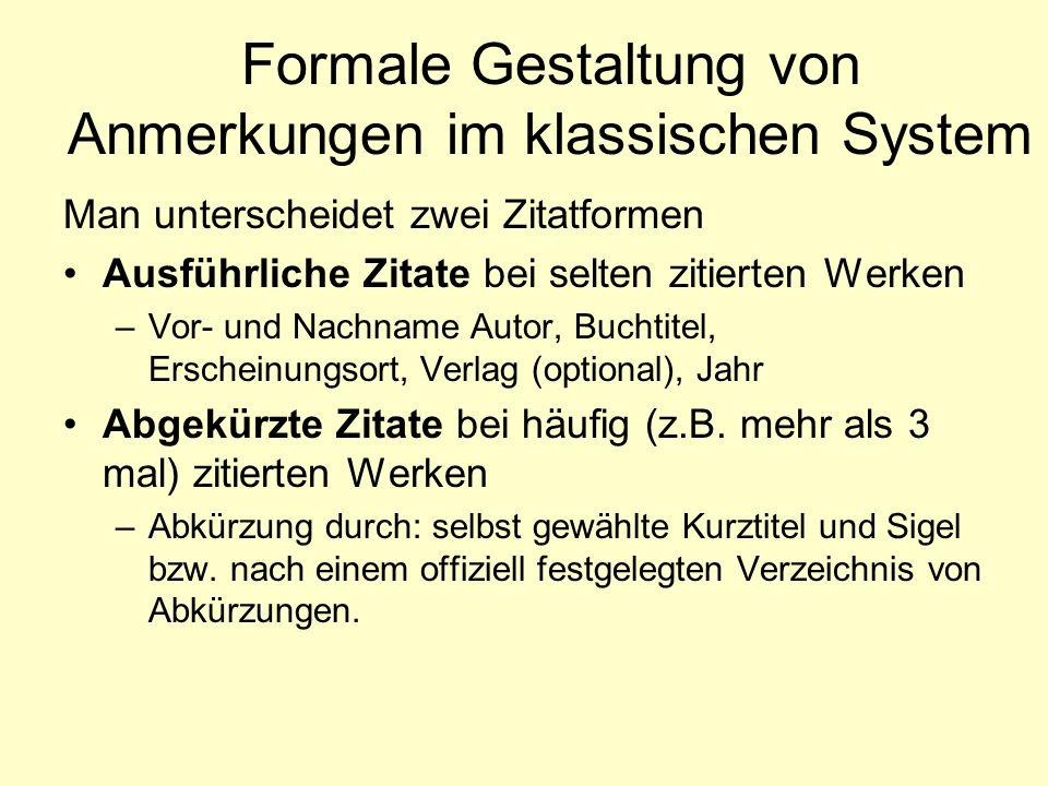 Formale Gestaltung von Anmerkungen im klassischen System