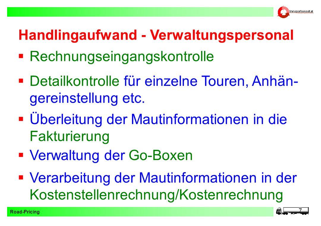 Handlingaufwand - Verwaltungspersonal