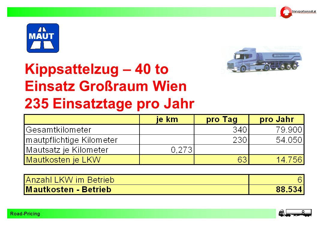 Kippsattelzug – 40 to Einsatz Großraum Wien