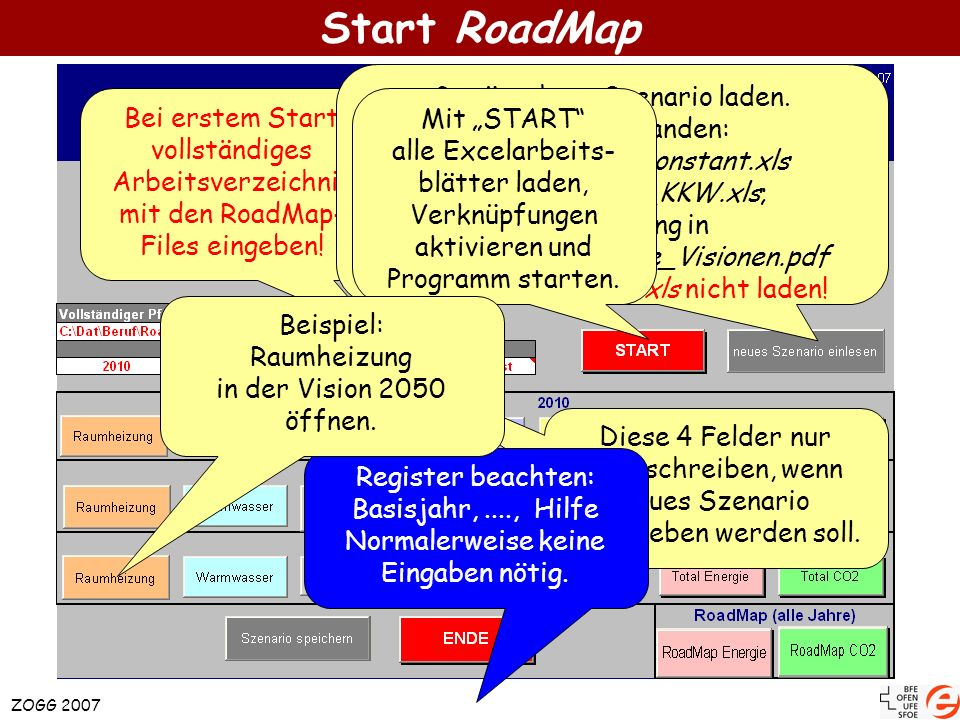 Start RoadMap Gewünschtes Szenario laden. Bereits vorhanden: