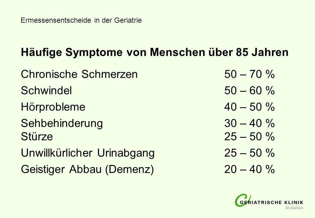 Häufige Symptome von Menschen über 85 Jahren