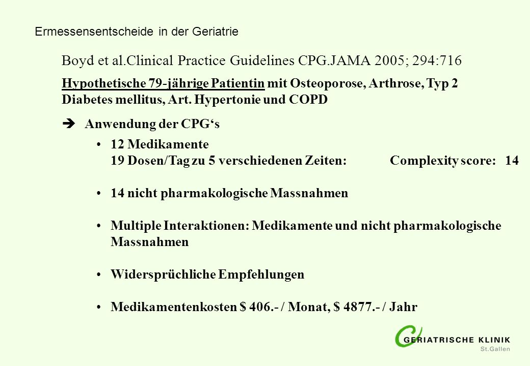 Boyd et al.Clinical Practice Guidelines CPG.JAMA 2005; 294:716
